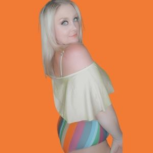 Rosegal Swimsuit Rainbow bottoms yellow top
